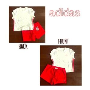 NWT adidas shorts/top outfit red/white